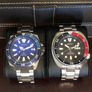 Author's new SRPC93K1 Save The Ocean next to his SRP779 Pepsi bezel Turtle