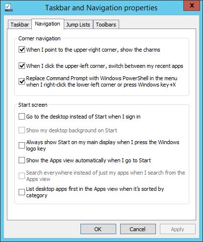 Windows 8.1 Start Menu Options