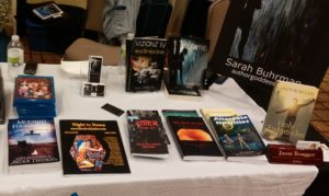 The Nebraska Writers Guild table at ConStellation 8.