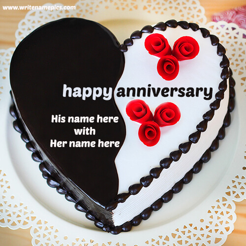 Happy Anniversary Heart Shape Cake With Couple Name Edit
