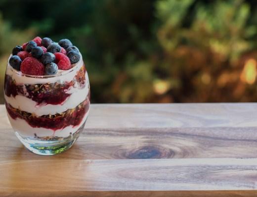 muesli, berries, parfait, coconut cream, breakfast