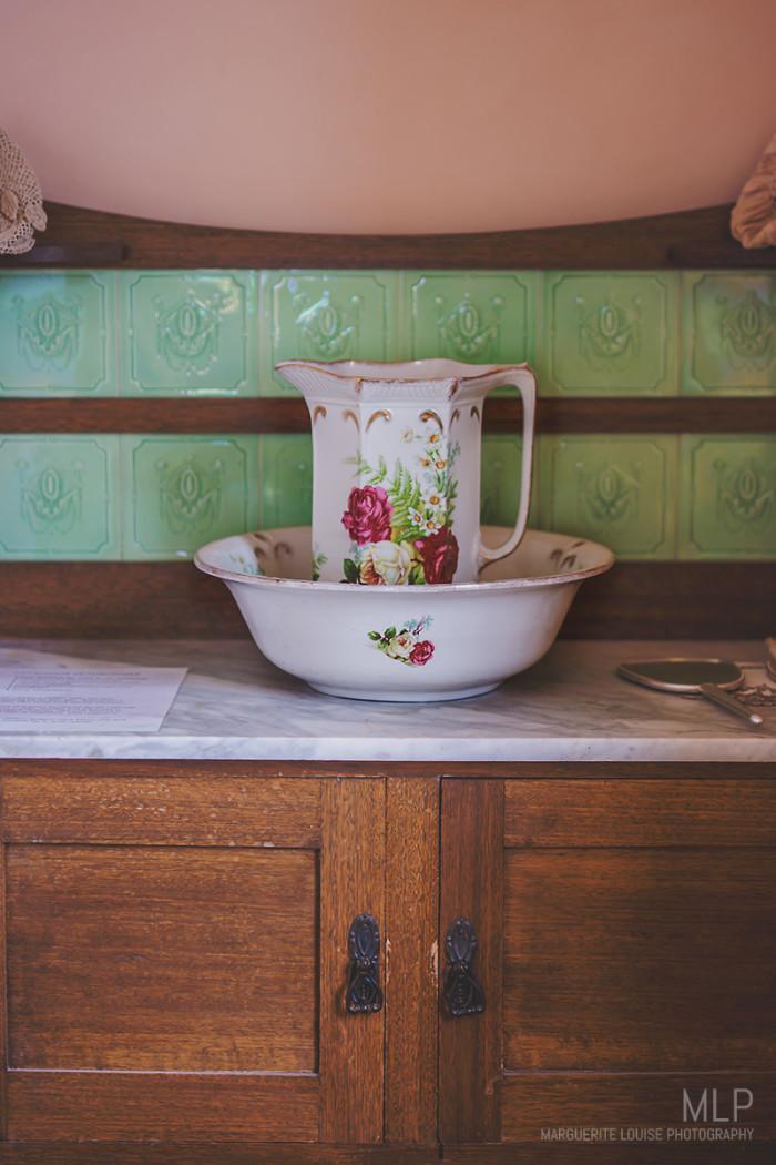 washroom, jug, bowl, highfield house, stanley, tasmania