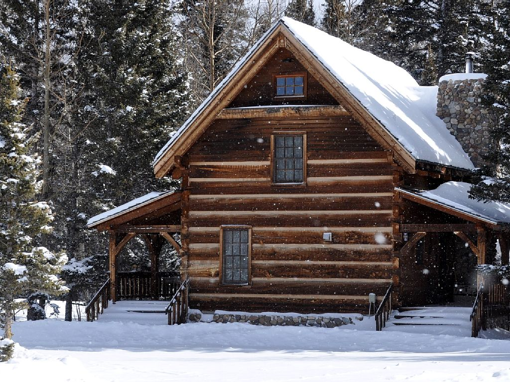 log cabin, cabin, cottage, snow, winter