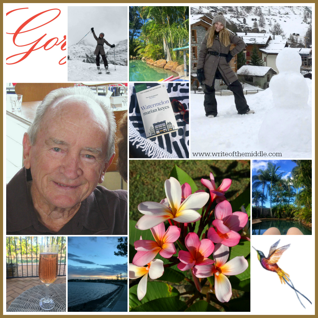 collage, photos, dad, summer, pool, swimming pool, skiing, switzerland, snowman, frangipani, flowers, champagne, book, reading