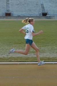 This runner's pace is her pace. She's found her rhythm.