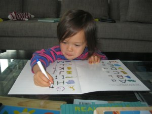 Copying letters.