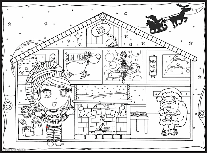 Write Right character, plus a sleeping mouse, sugar plug fairy, reindeer, and Santa inside a doll house structure.