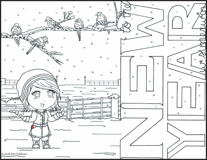 "A cartoon girl with a red pen stands in the snow. Five birds are on a tree branch, which intersects with the words ""to the new year, W. S. Merwin."""