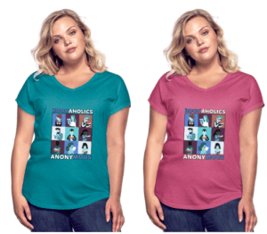 Two women in BookAholic V-Necked Shirts