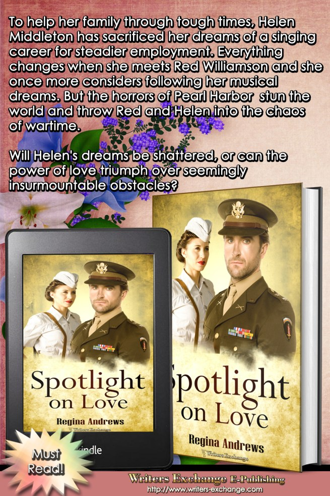 Spotlight on Love by Regina Andrews Book cover with blurb graphic