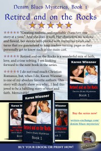 Book review for Denim Blues Mysteries, Book 1: Retired and on the Rocks by Karen Wiesner vertical graphic