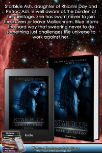 Shadows of Mallachrom, Book 3: Starblue book with blurb graphic