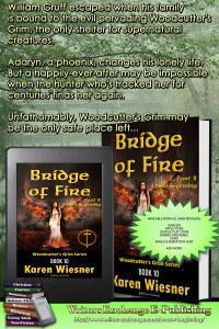 Woodcutter's Grim Series, Book 10, Bridge of Fire, Part 2: A New Beginning book with blurb promo image
