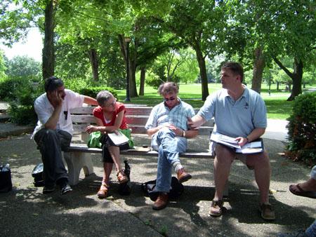 6-20-09 OSU Campus, Richard Isbell telling his Story ... Greg Newberry, far right, Sandy, Eric