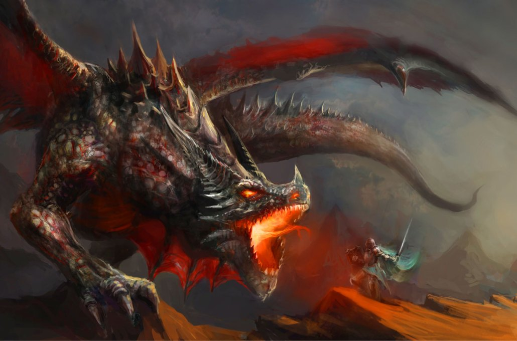 Image of a knight facing off with a dragon