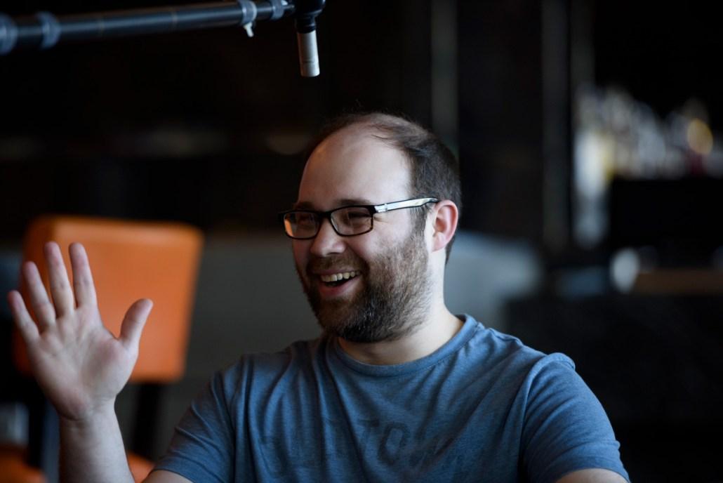 Author Anton Rose being interviewed