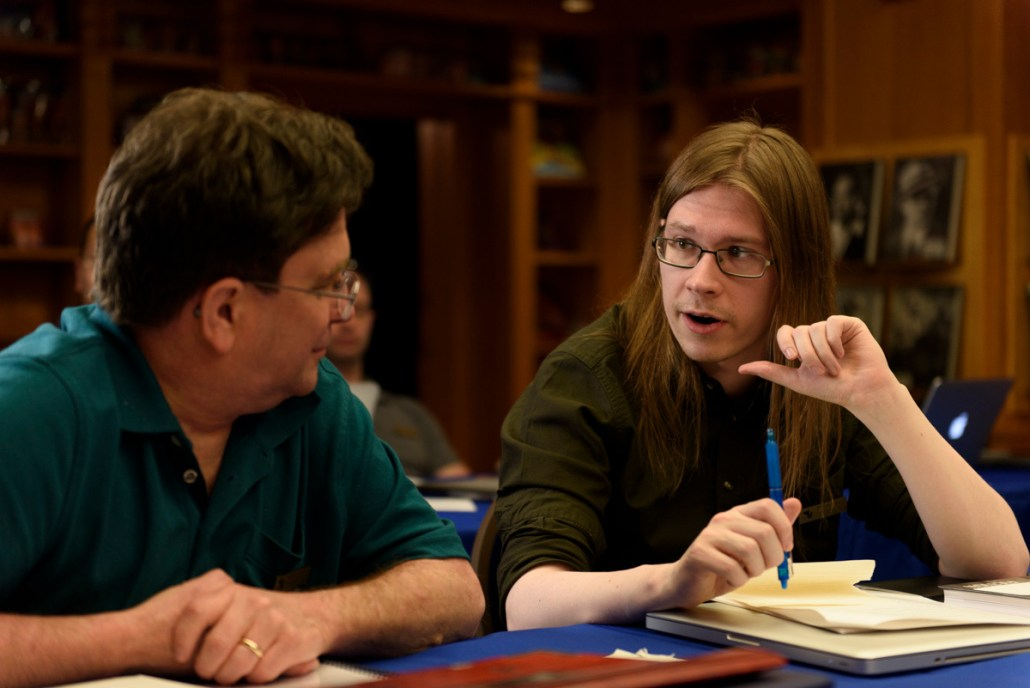 Ville Meriläinen talking to fellow author Andrew Roberts Ville Meriläinen talking to author Andrew Roberts