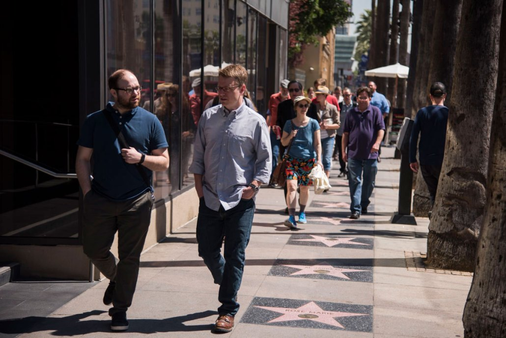 Walking with Andrew Peery, on the Hollywood Walk of Fame, en route to the library to do research.