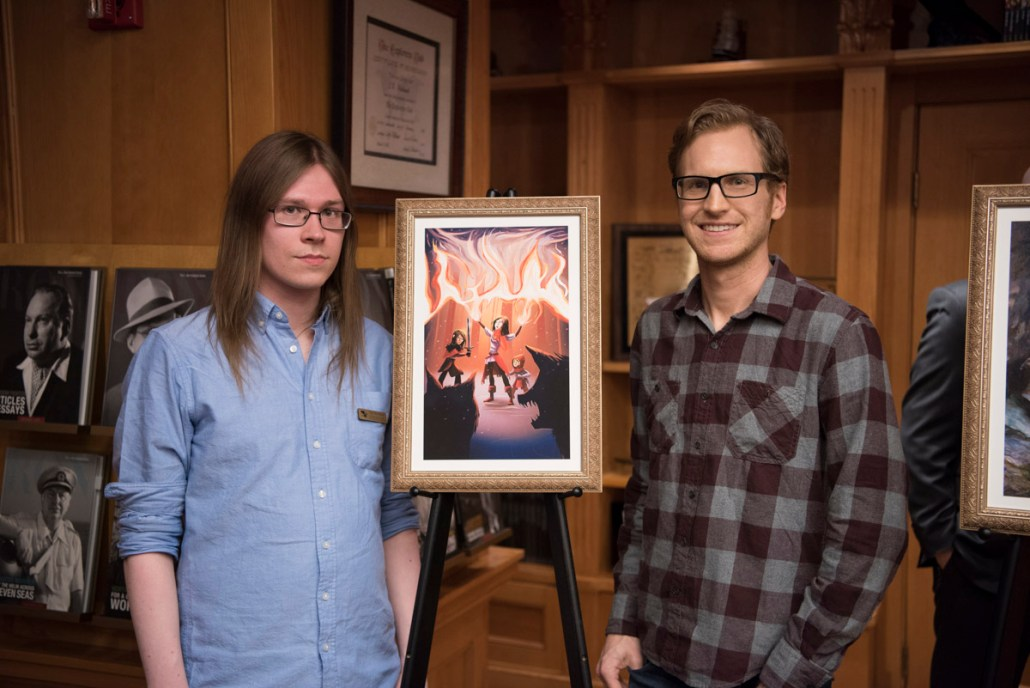 Ville Meriläinen with artist David Furnal and the illustration for his story.