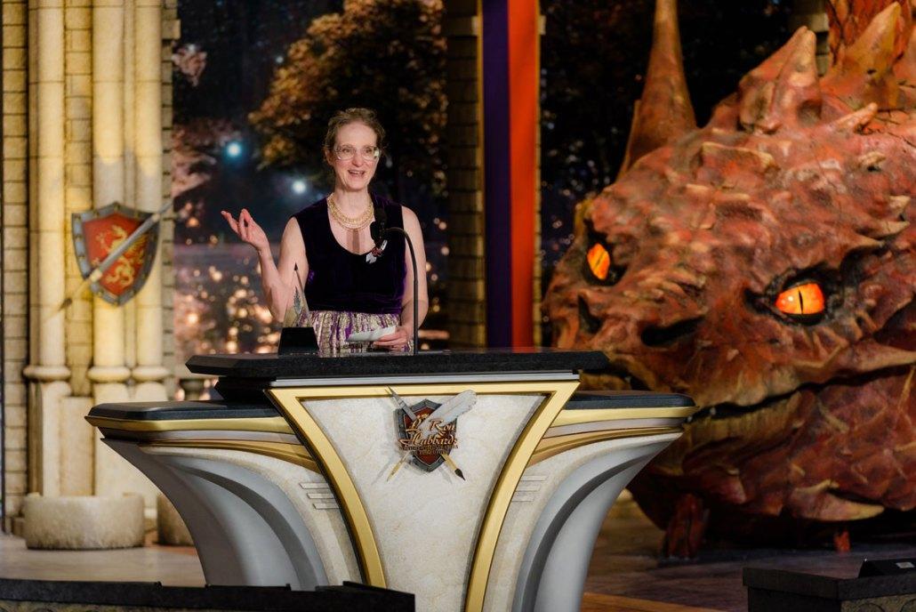 Ziporah Hildebrandt on stage accepting her award
