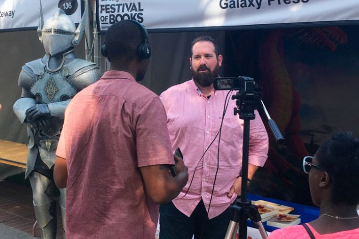 Jake Marley being interviewed at LA Festival of Book