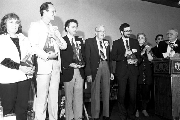 First Place winners on stage with Jack Williamson, Anne McCaffrey and Algis Budrys.