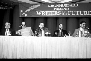 The 1987 Writers of the Future panel with Isaac Asimov, Gene Wolfe, Robert Silverberg, Roger Zelazny, Larry Niven, and Dr. Jerry Pournelle.