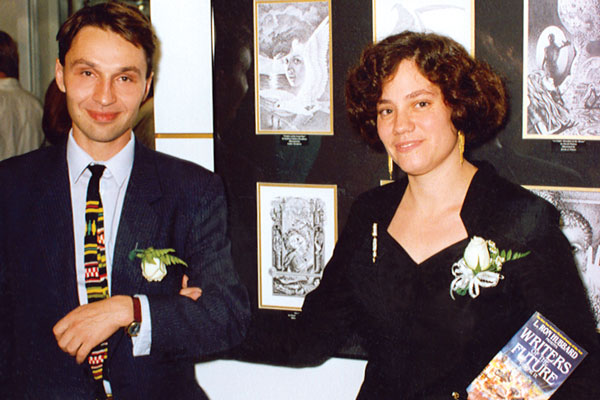 Elizabeth E. Wein with Illustrator of the Future winner Yuri Galitsin, who illustrated her story.