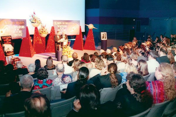 The Destiny Theater at Houston Space Center, crowded with attendees for the eleventh annual Awards ceremony.