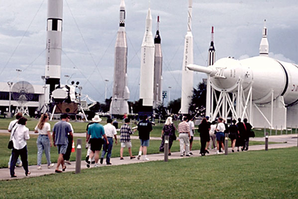Winners, judges, and guests take a special tour of the Kennedy Space Center.