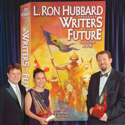 Sean Astin with Gold Award winners Irena Yankova Dimitrova (illustrator) and Dylan Otto Krider (writer) at the formal release of Writers of the Future Volume XVIII