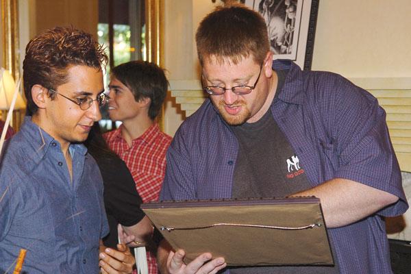 Ken Scholes with the illustrator for his WotF story, Gold Award winner, Erik Valdez y Alanis