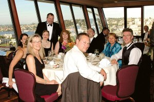 Winners, judges, and guests enjoy a high-altitude banquet in the Space Needle.