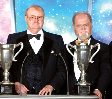 Dr. Jerry Pournelle and Larry Niven with their Lifetime Achievement Awards.