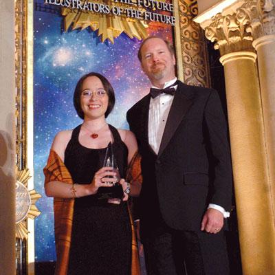 Writer winner Aliette de Bodard with Kevin J. Anderson