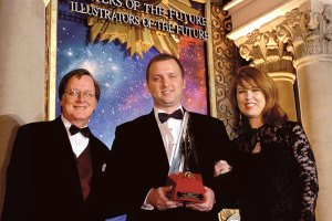 Tim Powers and actress Lee Purcell with Gold Award winner Stephen Kotowych.