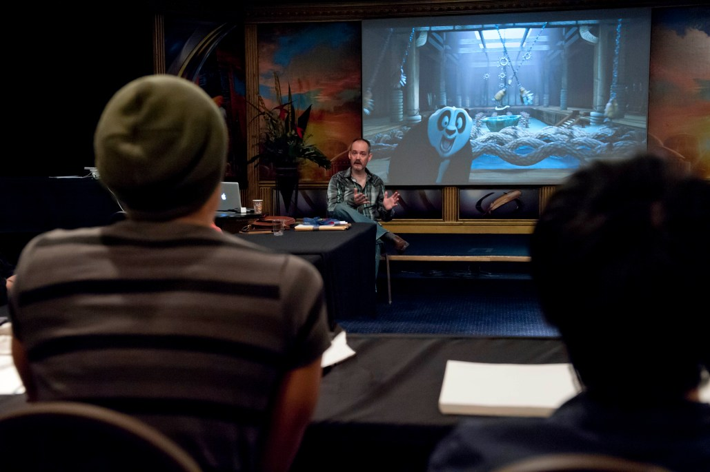 Guest speaker Nathan Fowkes talks to the Illustrator winners