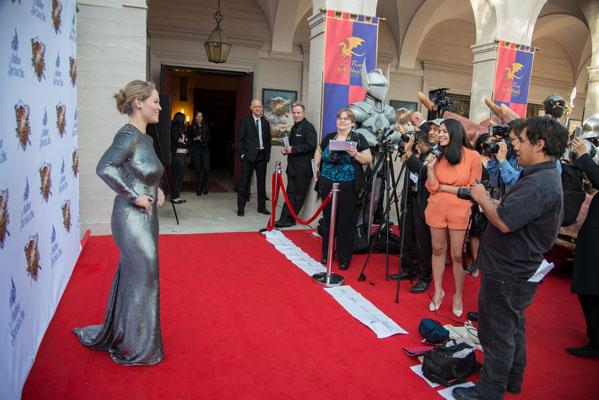 Guest presenter Erika Christiansen walks the red carpet.