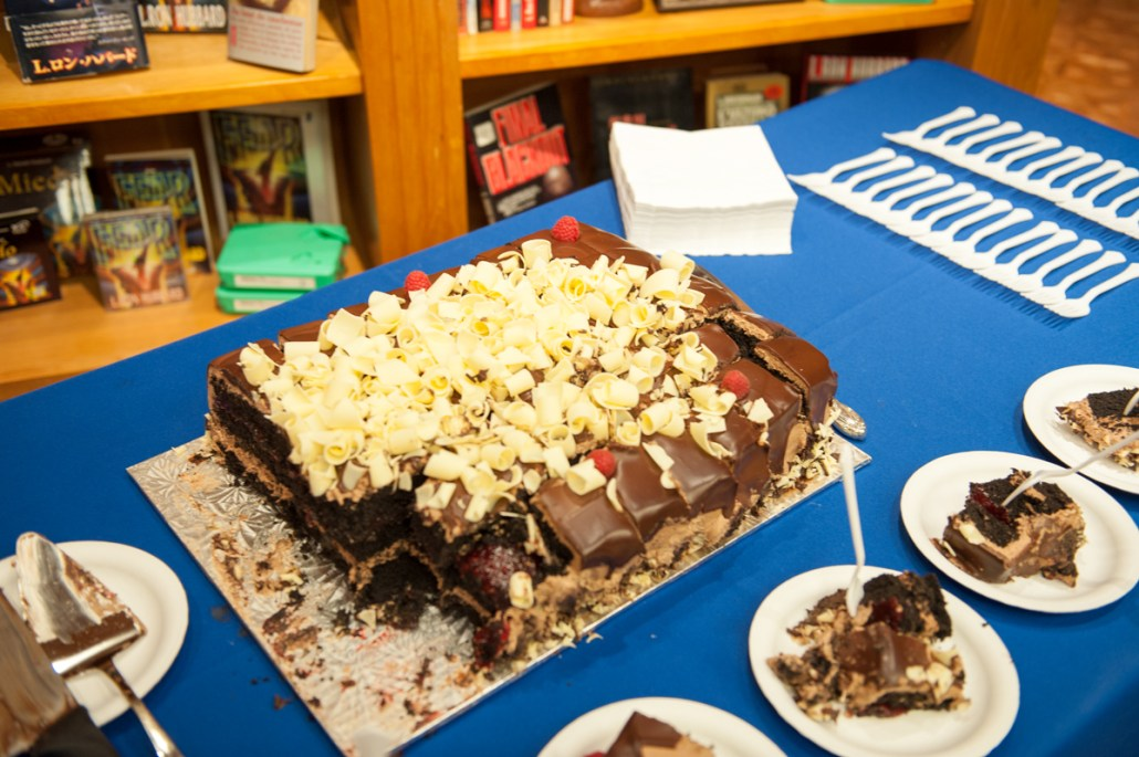 """Chocolate and raspberry layered cake in the shape of a gorilla for Terry Madden's story """"Animal"""""""