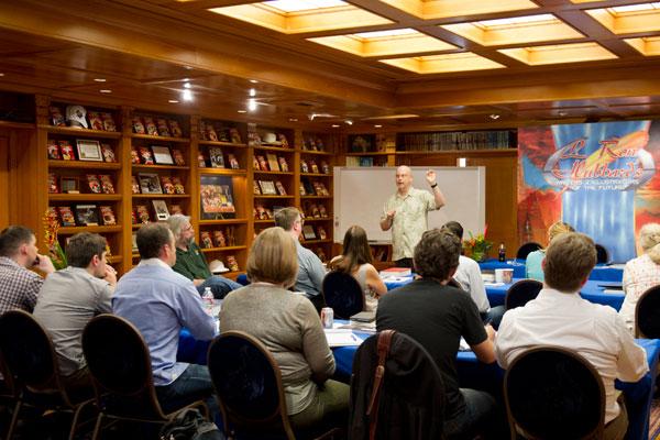 Award-winning author and judge, Robert J. Sawyer, giving a talk to the writer winners.