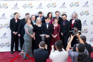 Writers of the Future 2015 winners walk the red carpet before the ceremony begins.
