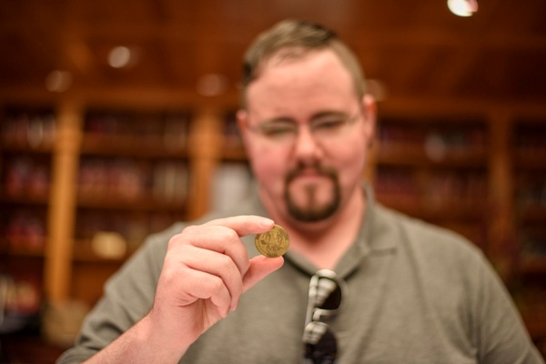 JW Alden with this rare 17th century gold dabloon that Captain Bligh took from the king of...