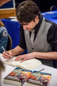 Matt Dovey warming up his writing hand.