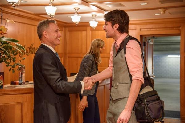 Matt Dovey being greeted by John Goodwin, President Galaxy Press.