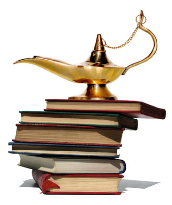 Books with magic lamp