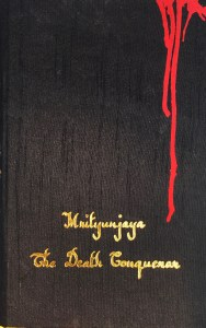 Black handloom sari-bound cover with gold embossed lettering for the title and author's name towards the bottom. On the upper right corner vertical red streaks painted, the longest of which is in alignment with the title.