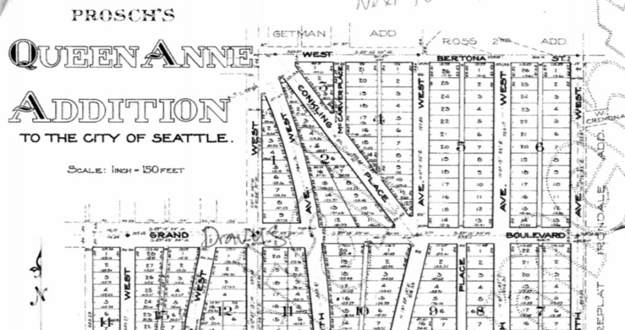 Portion of Prosch's Queen Anne Addition to the City of Seattle, 1909