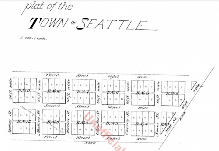 Plat of the Town of Seattle, May 23, 1853, by Carson Dobbins Boren and Arthur Armstrong Denny