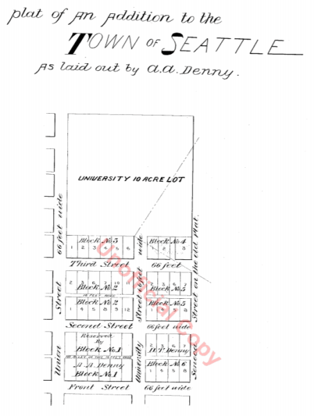 Plat of an Addition to the Town of Seattle as Laid Out by A.A. Denny, November 16, 1861