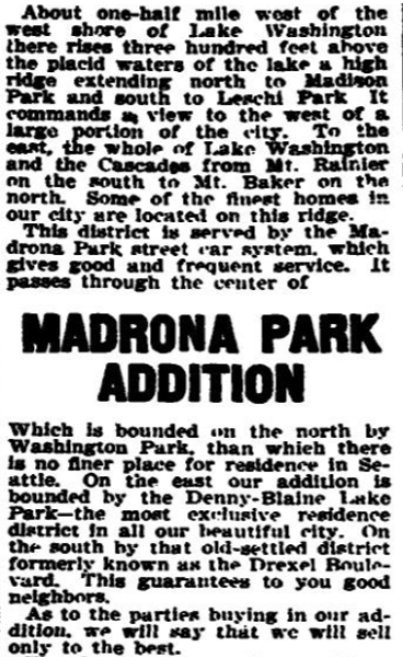 Advertisement for Madrona Park Addition, The Seattle Times, April 7, 1903